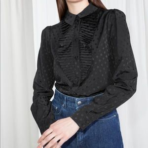 NWOT Ruffle Victorian Blouse Black on Black
